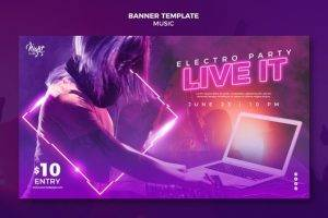 neon-horizontal-banner-electronic-music-with-female-dj-14573406